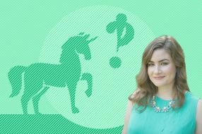Photo illustration to accompany article on how much to save for retirement with a unicorn, interrobang, and Erin Lowry