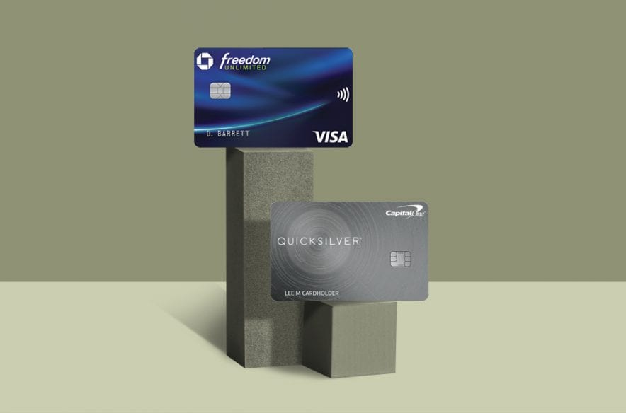 Image showing the Chase Freedom Unlimited and Capital One Quicksilver Cash Rewards credit cards