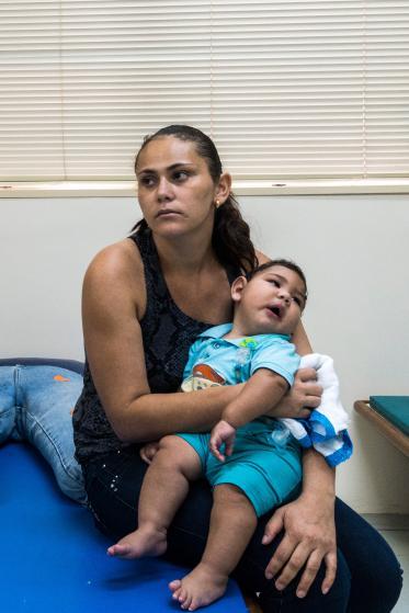 Adriana Cordeiro da Silva, 29, and her seven-month-year-old son Jose Bernardo, who was born with microcephaly, at the Associacao de Assistencia a Crianca Deficiente rehabilitation center in Recife, Brazil.