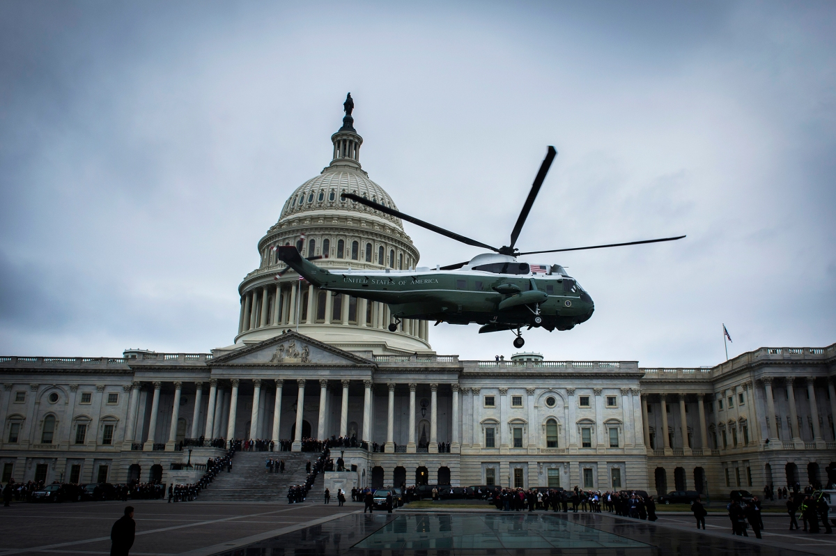 The helicopter carrying former President Obama and former First Lady Michelle Obama leaves the Capitol following the inauguration of President Donald Trump in Washington, D.C., on Jan. 20, 2017.
