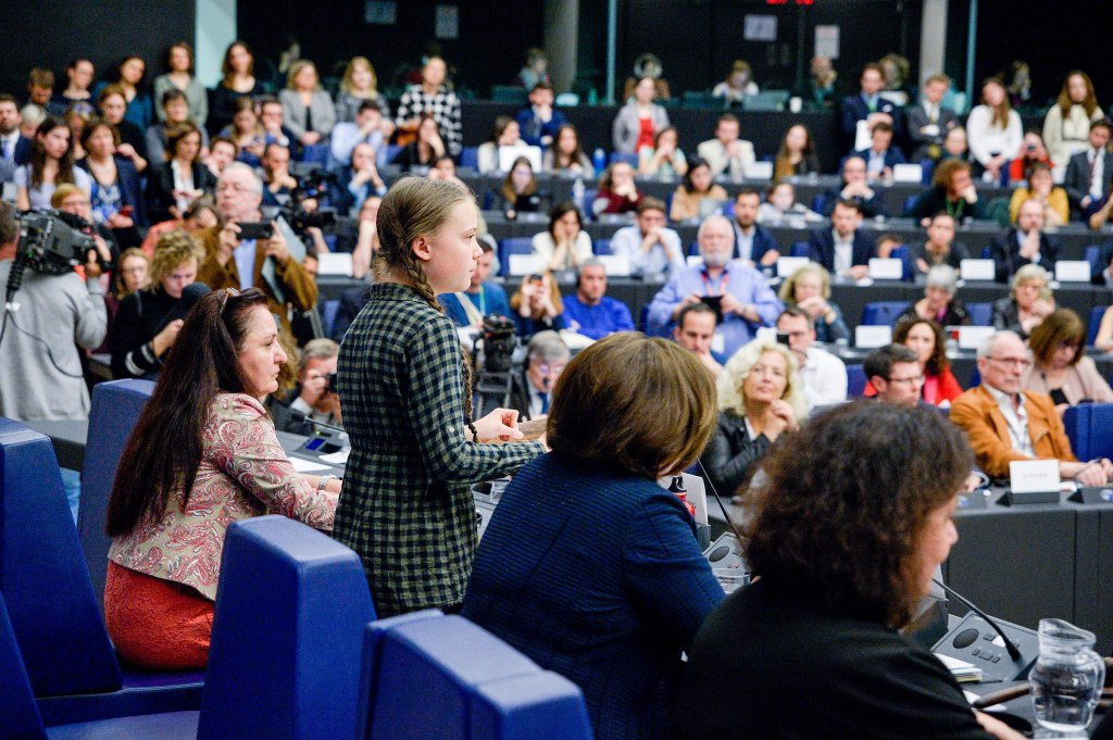 Thunberg speaking at the European Parliament in Strasbourg, France on April 16